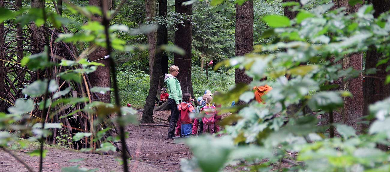 Waldstück mit Kindern